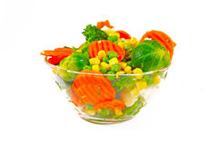 Frozen vegetables in a glass bow Royalty Free Stock Image