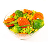 Frozen vegetables in a glass bow Royalty Free Stock Photo