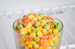 Frozen vegetables in a glass in the freezer Stock Photography