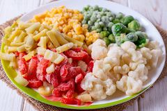 Free Frozen Vegetables In A Bowl Cauliflower, Brussels Sprouts, Peas, Peppers, Corn, Zucchini, Green Beans Royalty Free Stock Image - 143594866