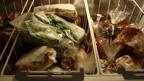 Frozen vegetables and meat stock footage