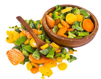 Frozen vegetables mix on a white background Stock Photo