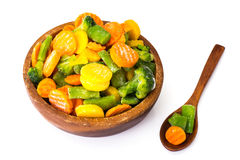 Frozen vegetables mix on a white background Royalty Free Stock Image