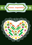 Frozen vegetables packaging design illustration. Beautiful creative original designs.Vegetables and snowflakes.Frozen vegetables.For further use in the design of Royalty Free Illustration