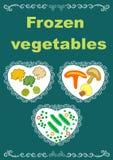 Frozen vegetables packaging original design illustration. Beautiful creative original designs.Vegetables and snowflakes.Frozen vegetables.For further use in the Royalty Free Illustration