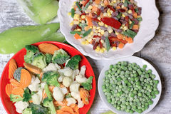 Frozen vegetables, quick-frozen vegetables maintains vegetables to stay fresh healthy diet Stock Photo