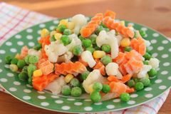Frozen vegetables. Some frozen vegetables on a plate Royalty Free Stock Photography