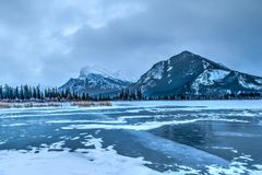 Frozen Vermilion Lakes, Banff National Park. Frozen Vermilion Lake in Banff National Park with Mt. Rundle in the background. Just before sunrise Stock Photography