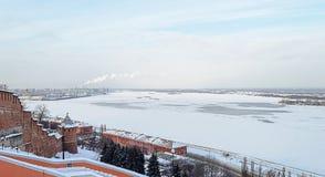 Frozen Volga River at Nizhny Novgorod in winter Stock Photo