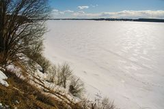 Frozen Volga river royalty free stock photography