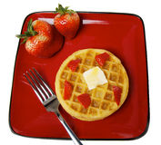 Frozen Waffles with strawberries Royalty Free Stock Photos