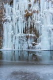 Frozen wall. A beautiful frozen wall in Bozovici , Romania , right next to the Bigar waterfall Royalty Free Stock Photo