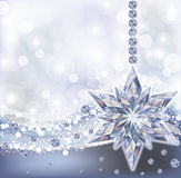 Frozen wallpaper with diamond snowflake, vector Royalty Free Stock Photo