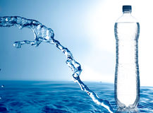 Frozen water and bottle Stock Photography