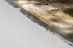 Frozen water of a canal on cold winter day Stock Image