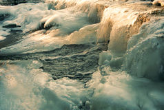 Frozen water at dam Royalty Free Stock Photo