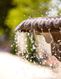 Frozen water drops in air. Fountain with high shutter speed to freeze water drops in air (fountain Stock Photography