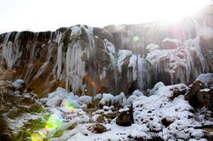 Frozen water fall in Jiuzhaigou, China Royalty Free Stock Photos