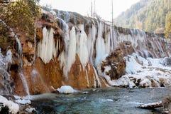 Frozen water fall in Jiuzhaigou, China Stock Photography