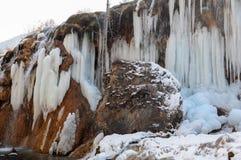 Frozen water fall in Jiuzhaigou, China Stock Photos