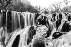 Frozen water fall in Jiuzhaigou, China Royalty Free Stock Photography