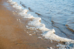 Frozen water and foam on the banks of the river Royalty Free Stock Image