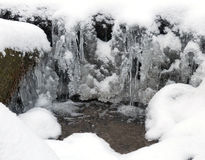 Frozen water, snow and small stream Royalty Free Stock Image