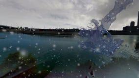 Frozen water Splash beneath the falling snow Stock Image