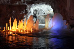 Frozen water Stalagmite in deep marble cave, Russia Royalty Free Stock Photos