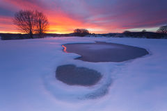 Frozen water. Sunrise in a cold frozen morning Royalty Free Stock Image