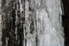 Frozen water, Frozen waterfall. Winter in Ukraine stock image