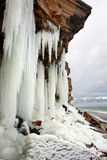 Frozen waterfall. A view of a frozen waterfall, from the below Royalty Free Stock Photos