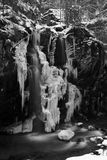 Frozen waterfall. River, frozen waterfall and forest from Jiet Canyon Royalty Free Stock Images