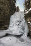 Frozen waterfall. In the small canyon Royalty Free Stock Photos