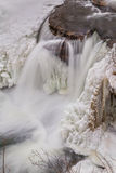 Frozen Waterfall from Above Stock Photo