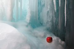 Frozen waterfall and apple Stock Images