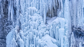 Frozen waterfall background. Frozen waterfall in winter time at Plitvice lakes in Croatia Royalty Free Stock Images