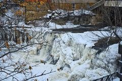 Frozen waterfall in Chagrin Falls stock photo