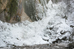 Frozen waterfall of Chorron de Viguera, La Rioja, Spain Royalty Free Stock Photo