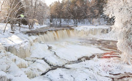 Frozen waterfall in Estonia Royalty Free Stock Images
