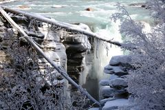 Frozen waterfall with fallen trees covered by ice Royalty Free Stock Photos