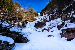 Frozen waterfall in Upstate New York royalty free stock image