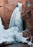 Frozen Waterfall and Graffiti Stock Image