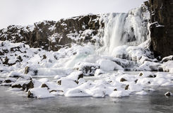 Frozen waterfall. A frozen waterfall in Iceland Stock Photo