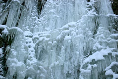 Frozen waterfall with icicles Stock Photography