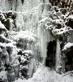 Frozen waterfall with icicles. – seen in the park Wilhelmshöhe at bridge Teufelsbrücke in Kassel, Germany stock photos