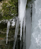 Frozen waterfall, icicles Stock Photo