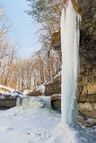 Frozen Waterfall and Icicles Stock Photography