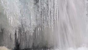 Frozen waterfall Kirkjufellsfoss stock video footage