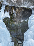Frozen waterfall La Chisatoare. Close up of frozen waterfall `La Chisatoare`. Is located between village Moeciu de Sus and Moeciu de Jos, corridor Rucar-Bran Royalty Free Stock Photography